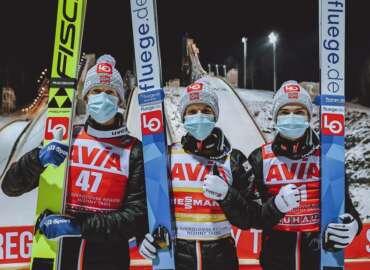 Norwegische Skispringer in Russland